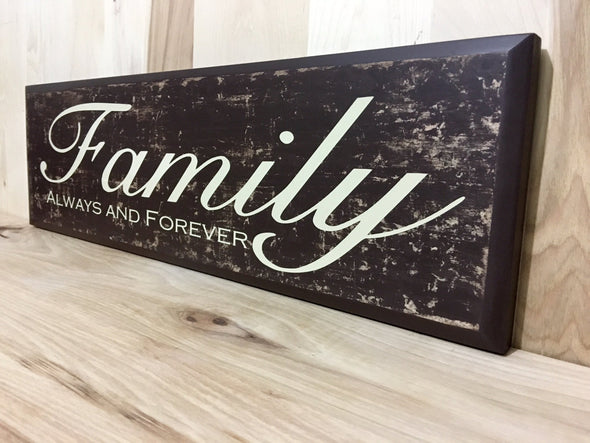 Wooden family sign for home decor.