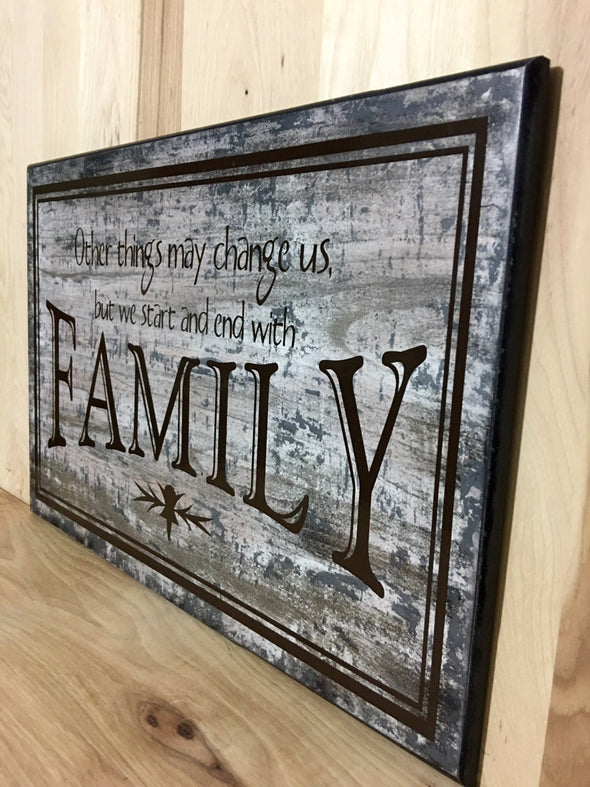 Custom family wooden sign for home decor.
