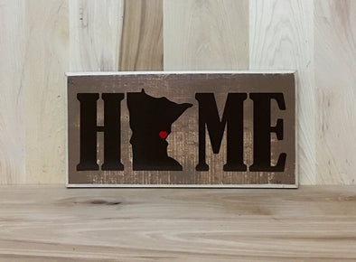 Personalized state home wood sign.