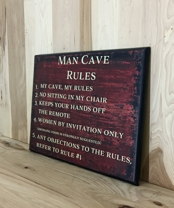 Man cave rules wood sign for man cave decor.