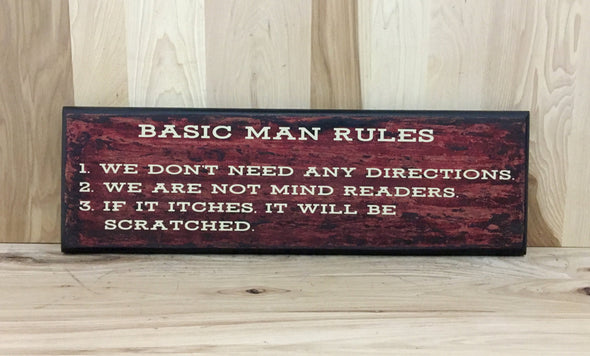 Basic man rules wood sign for man cave.