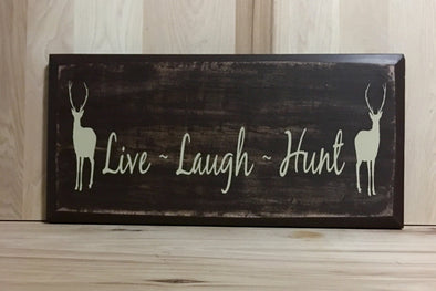 Live laugh hunying deer hunting wooden sign for man cave or cabin decor.