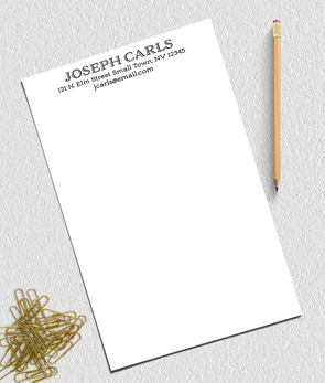 personalized note pad with address for business