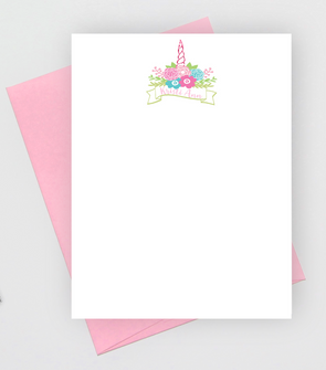 unicorn staionery note cards for girls