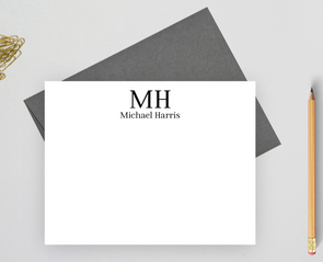 monogram personalized note cards for men