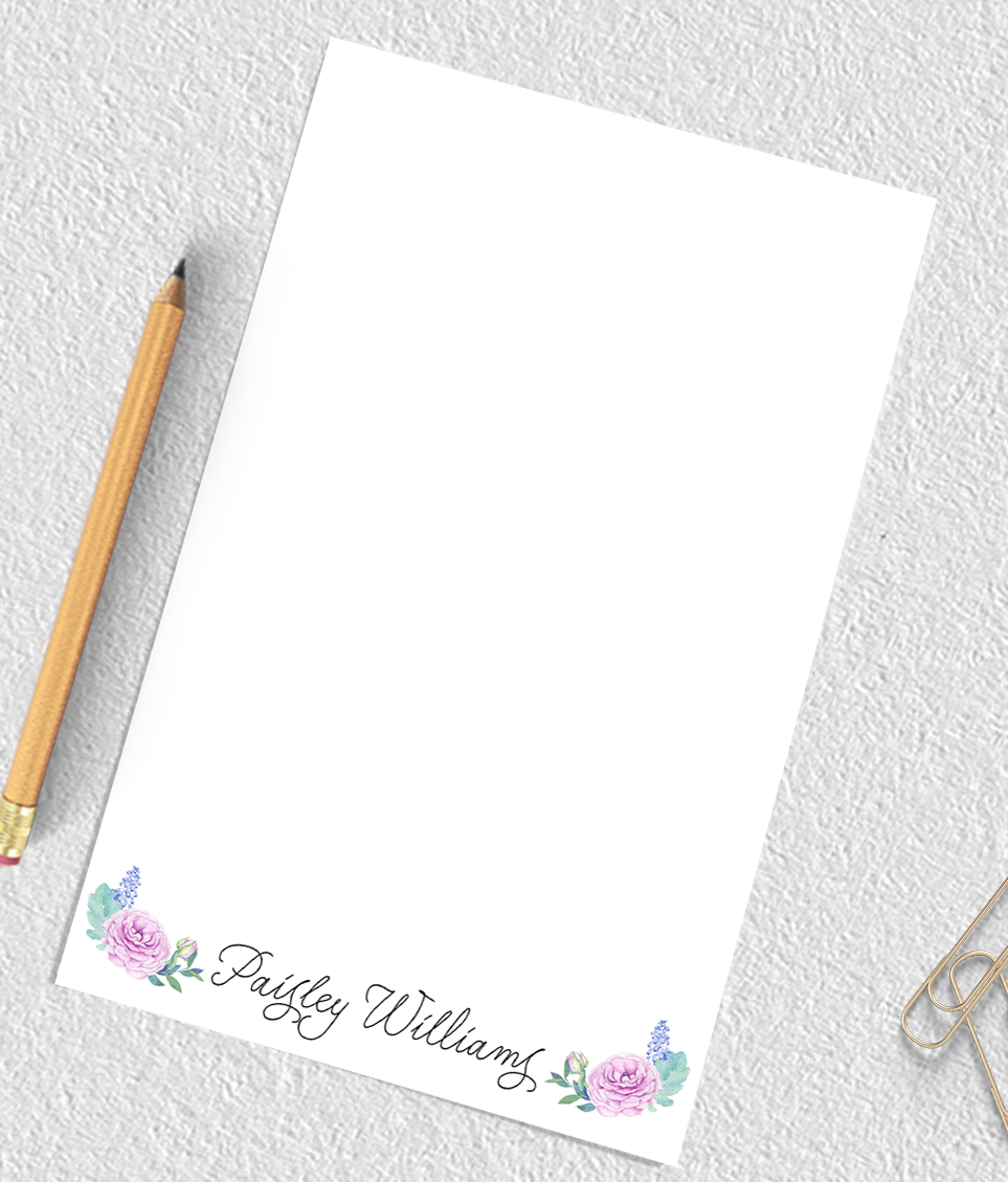 Floral Personalized Notepad Flower Notepad For Women Crafting With My Chis