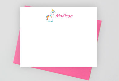 Personalized unicorn stationery for girls.