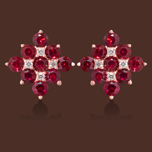 Rani Ruby & Diamond Ear Jackets Drops in 18K Rose Gold