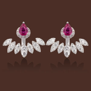 Diya Pink Sapphire & Diamond Ear Jackets in 18K Gold.
