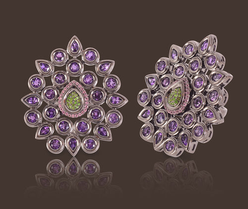 Fleur de Chine Ring - Amethyst, Chrome Diopside, Pink Tourmaline, Black Rhodium Sterling Silver