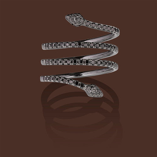 Serpentina Linea Ring in Black Gold & Black Diamonds