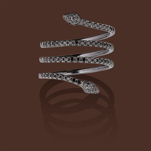 Serpentina Linea Ring in 18K Black Gold & Black Diamonds