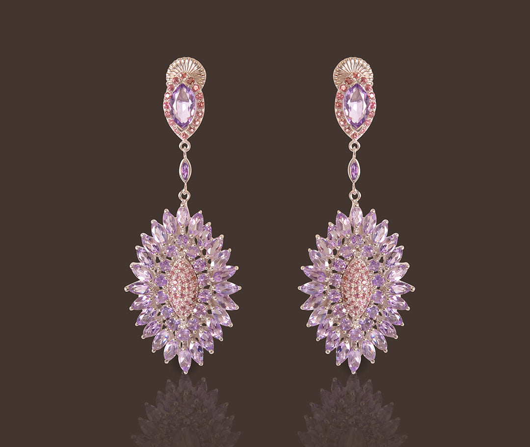 Noor Drop Earrings with Pink Tourmaline