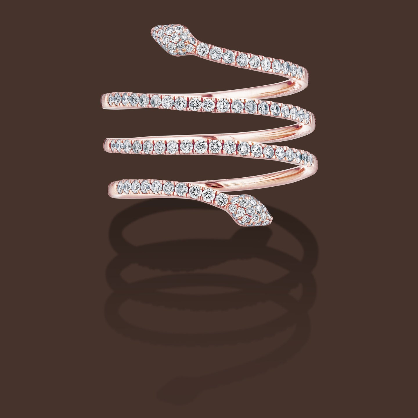 Serpentina Linea Ring 18K Rose Gold & Diamonds