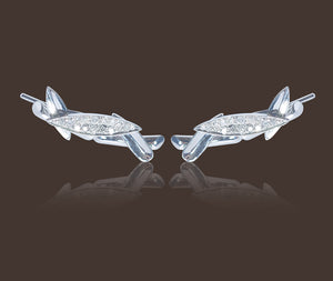 Bamboo Leaves Ear Climbers 18K White Gold
