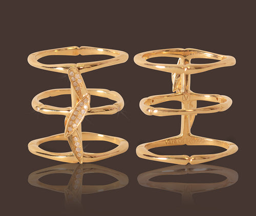 Bamboo Leaves Midi Ring 18 Karat Gold