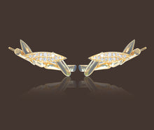 Bamboo Leaves Ear Climbers 18K Yellow Gold