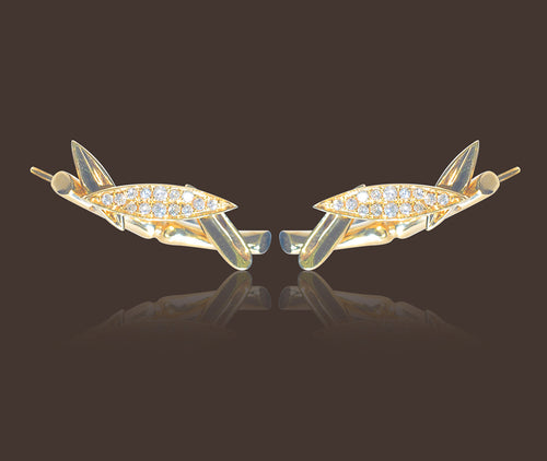Bamboo Leaves Ear Climbers 18 Karat Yellow Gold