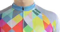 maillot cyclisme homme manches courtes col motif arlequin carreaux losanges couleurs boutique shop start-to-train