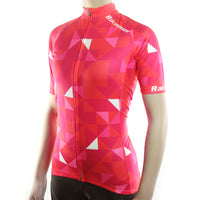 maillot cyclisme vélo femme couleur rouge rose motif triangles boutique shop start-to-train