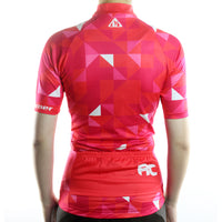 maillot cyclisme vélo femme couleur rouge rose motif triangle photo de dos boutique shop start-to-train