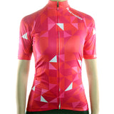 maillot original cyclisme vélo femme manche courte couleur rouge rose motif triangle photo de face boutique shop start-to-train pas cher
