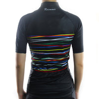 maillot cyclisme manches courtes femme noir lignes rouge jaune bleu photo de dos boutique shop start-to-train