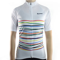 maillot cyclisme manches courtes femme blanc lignes rouge jaune bleu photo de face boutique shop start-to-train