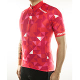 maillot cyclisme vélo rouge photo de biais motif triangle boutique eshop start-to-train