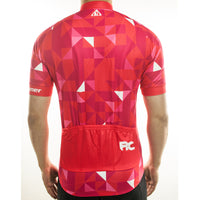maillot cycliste homme manches courtes vélo rouge motif triangles photo de dos boutique eshop start-to-train