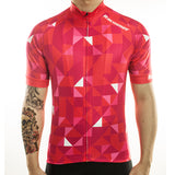 maillot cyclisme vélo rouge motif triangle boutique eshop start-to-train