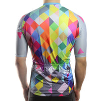 maillot cyclisme homme manches courtes dos motif arlequin carreaux losanges couleurs boutique shop start-to-train