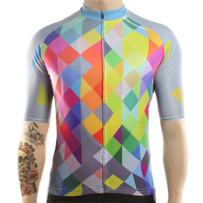maillot cyclisme homme manches courtes face motif arlequin carreaux losanges couleurs boutique shop start-to-train