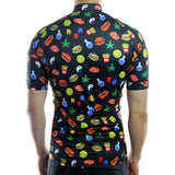 maillot vélo manches courtes homme tenue cyclisme qualité motif junk food hamburger frites canabis shop Start-to-Train