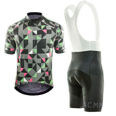 ensemble cycliste cuissard court noir avec bretelles maillot manches courtes gris noir motif original triangles rose vert boutique shop pas cher vélo cyclisme start-to-train