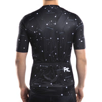 ensemble cycliste cuissard court maillot manches courtes original noir motif constellations boutique shop pas cher tenue vélo cyclisme start-to-train