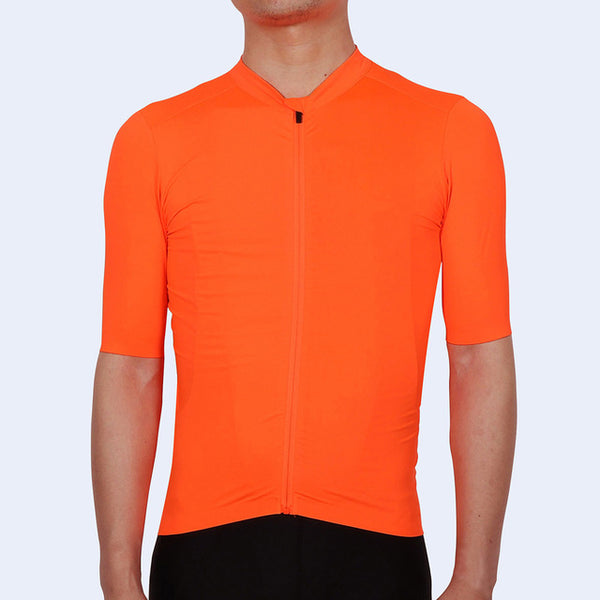 maillot velo aero manche courte tenue cycliste homme équipe Pro Team Fit coupe ajustée cycling jersey orange qualité pas cher shop start-to-train
