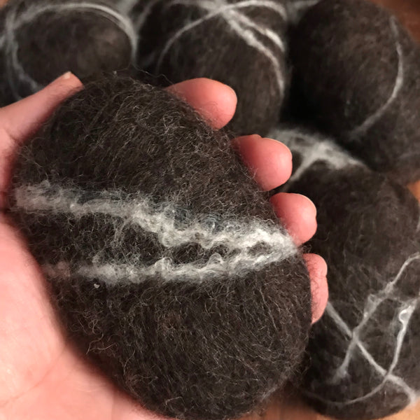 felted activated charcoal soap