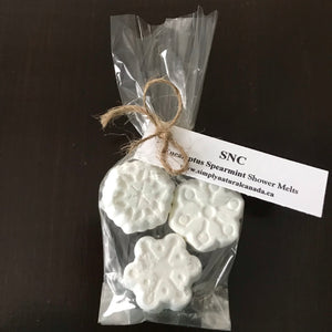 canadian made eucalyptus spearmint snowflake shower melts