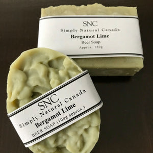 bergamot lime handcrafted vegan beer soap made in canada