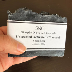 naturally unscented activated charcoal vegan bar soap made in canada