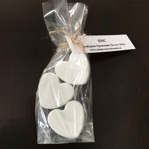 large eucalyptus spearmint heart shower melts made in canada 3 pack