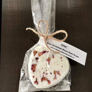 canadian made heart essential oil natural floral bath bombs in compostable bag
