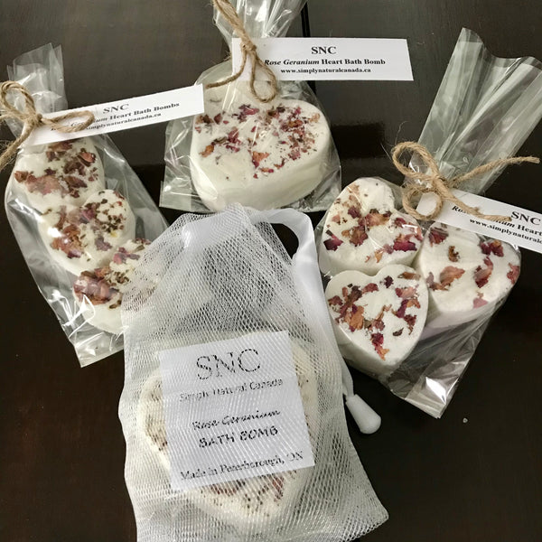 floral scented essential oil heart bath bombs made in canada