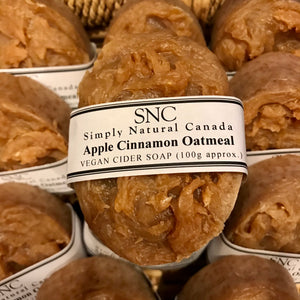 handcrafted apple cinnamon oatmeal vegan cider soap made in canada
