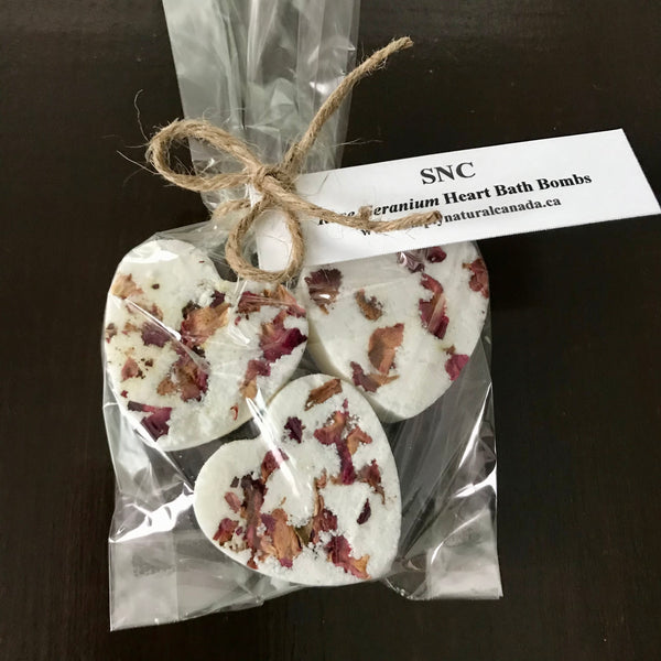 canadian made floral large heart bath bombs set of 3