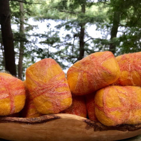 felted bee pollen soap made in canada