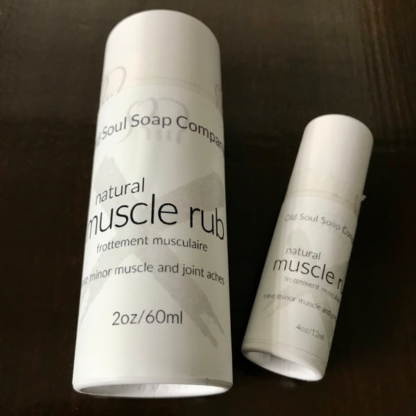natural muscle rub in compostable packaging made in canada