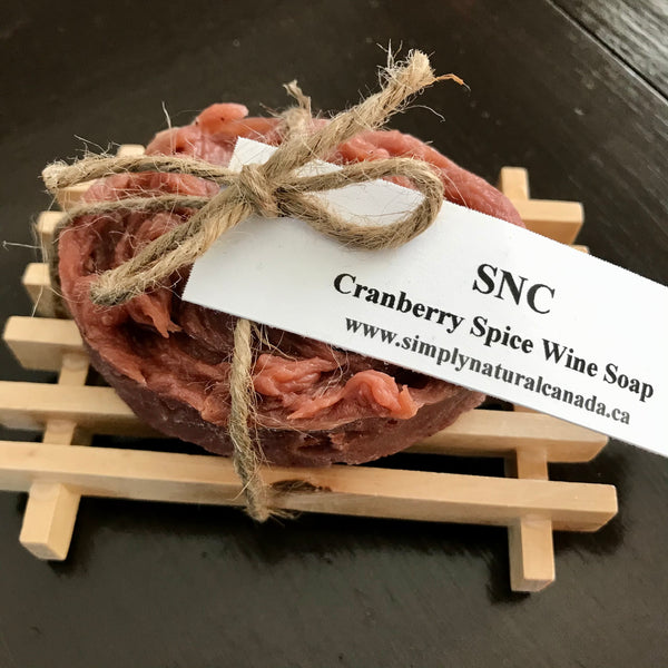 canadian made cranberry spice wine soap and wood soap dish set