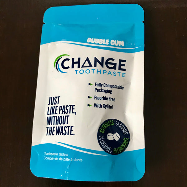bubblegum change toothpaste tablets 65 1 month supply compostable packaging made in canada
